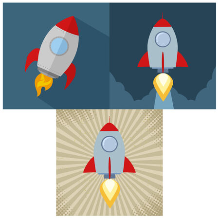 Retro Rocket Start Up Concept. Flat Style Collection Set Vector