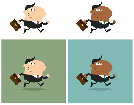 character abstract: Smiling Manager With Briefcase Running To Work. Flat Style Collection Set