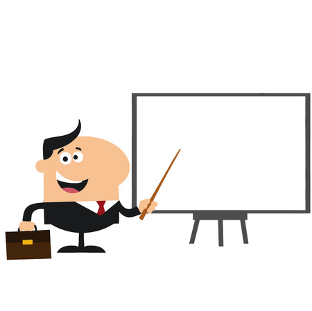 Happy Manager Pointing To A White Board.Flat Style  Illustration Isolated On White Illustration