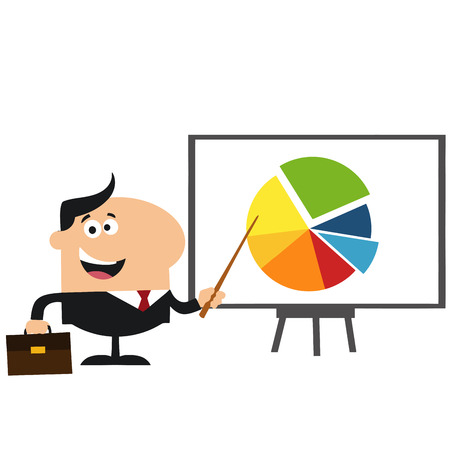 progressive: Manager Pointing Progressive Pie Chart On A Board.Flat Style Illustration Isolated On White