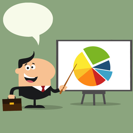 progressive: Happy Manager Pointing Progressive Pie Chart On A Board.Flat Style Illustration With Speech Bubble