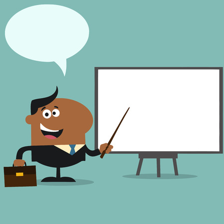 African American Manager Pointing To A White Board.Flat Style Illustration With Speech Bubble Illustration