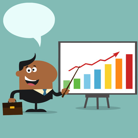 African American Manager Pointing To A Growth Chart On A Board.Flat Style Illustration With Speech Bubble