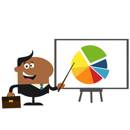 progressive: African American Manager Pointing Progressive Pie Chart On A Board.Flat Style  Illustration Isolated On White Illustration
