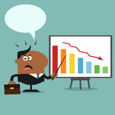 Angry African American Manager Pointing To A Decrease Chart On A Board.Flat Style  Illustration With Speech Bubble Illusztráció