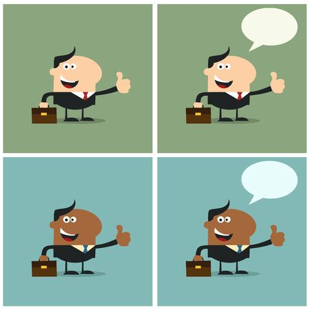 Happy Manager Giving Feedback With Speech Bubble. Flat Style Collection Set Vector