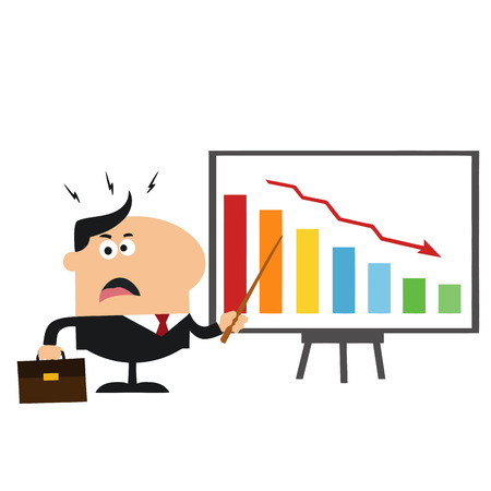manager: Angry Manager Pointing To A Decrease Chart On A Board.Flat Style  Illustration Isolated On White