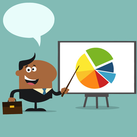 progressive: African American Manager Pointing Progressive Pie Chart On A Board.Flat Style Illustration With Speech Bubble Illustration