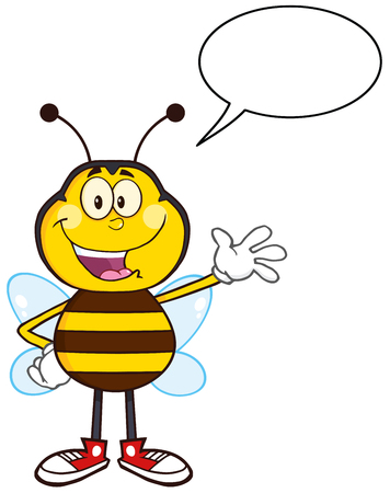 Happy Bee Cartoon Mascot Character Waving. Illustration Isolated On White With Speech Bubble Illustration