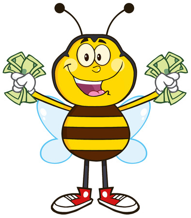 pollinator: Happy Bee Cartoon Mascot Character With Cash. Illustration Isolated On White Illustration