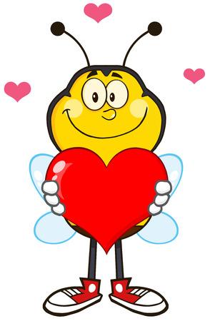Smiling Bee Cartoon Mascot Character Holding Up A Red Heart. Illustration Isolated On White Vector