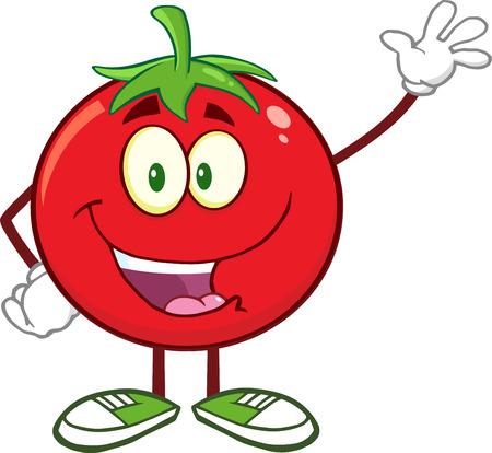 Happy Tomato Cartoon Mascot Character Waving.  Illustration Isolated On White Illustration
