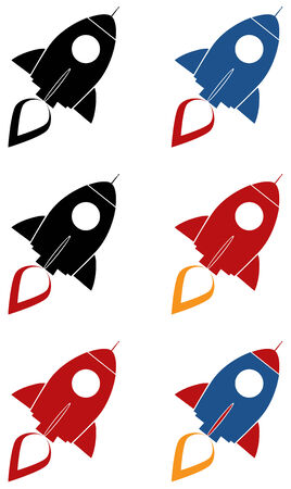 launching: Retro Rocket Icon Concept.  Collection Set Isolated On White Illustration