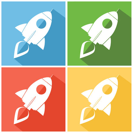 Retro Rocket Web Icons. Flat Style Collection Set Vector