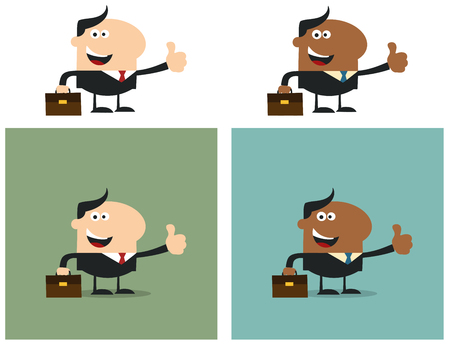 manager: Happy Manager Giving Feedback. Flat Style Collection Set Illustration