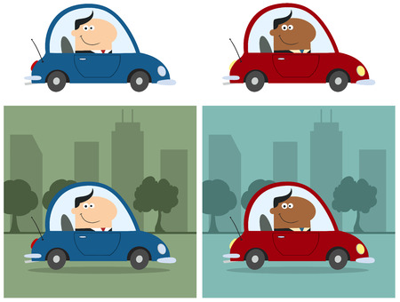 Smiling Manager Driving Car To Work In City. Flat Style Collection Set Vector