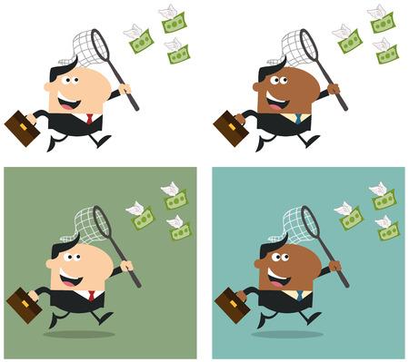 flying money: Gerente Chasing Dinero del vuelo con una red. Plano Estilo Colecci�n Conjunto Vectores