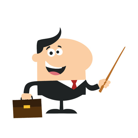 manager: Manager Holding A Pointer Stick.Flat Style Illustration Isolated On White
