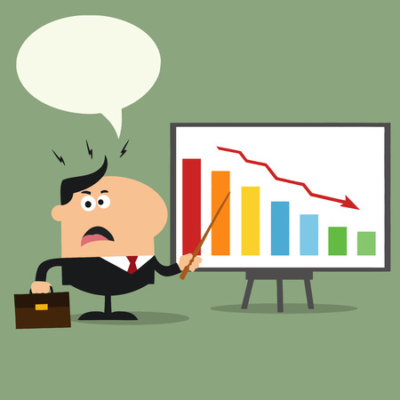 decrease: Angry Manager Pointing To A Decrease Chart On A Board.Flat Style Illustration With Speech Bubble Illustration