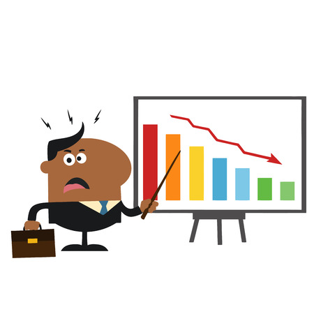 Angry African American Manager Pointing To A Decrease Chart On A Board.Flat Style Illustration Isolated On White