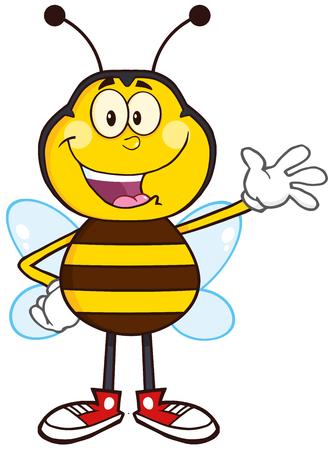 pollinator: Happy Bee Cartoon Mascot Character Waving.Illustration Isolated On White