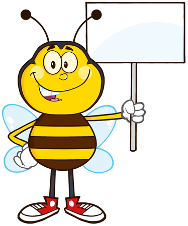 Bee Cartoon Mascot Character Holding Up A White Blank Sign.Illustration Isolated On White