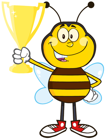 Bee Cartoon Mascot Character Holding A Golden Trophy.Illustration Isolated On White