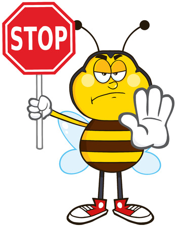 Angry Bee Cartoon Mascot Character Holding A Stop Sign.Illustration Isolated On White