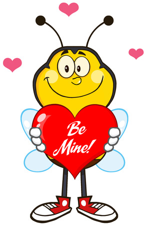 Smiling Bee Cartoon Mascot Character Holding Up A Red Heart With Text.Illustration Isolated On White Vector