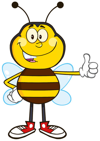 Smiling Bee Cartoon Mascot Character Showing Thumb Up.Illustration Isolated On White