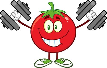Smiling Tomato Cartoon Mascot Character Training With Dumbbells. Illustration Isolated On White Ilustrace