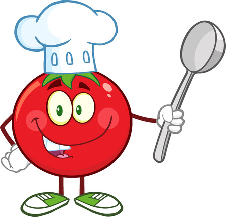 chubby cartoon: Red Tomato Chef Cartoon Mascot Character Holding A Spoon. Illustration Isolated On White