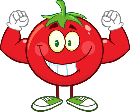 Strong Tomato Cartoon Mascot Character Flexing. Illustration Isolated On White Stock Illustratie