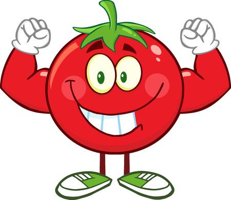 Strong Tomato Cartoon Mascot Character Flexing. Illustration Isolated On White Illustration