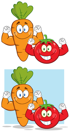 carotene: Carrot And Tomato Cartoon Mascot Characters Flexing. Collection Set Isolated On White