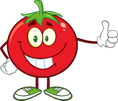 Smiling Tomato Cartoon Mascot Character Giving A Thumb Up. Illustration Isolated On White