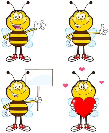 Bee Cartoon Mascot Character Different Interactive Poses 1. Collection Set Isolated On White Vector