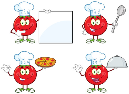 Red Tomato Cartoon Mascot Character Different Interactive Poses 1. Collection Set Isolated On White