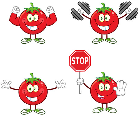Red Tomato Cartoon Mascot Character Different Interactive Poses 3. Collection Set Isolated On White