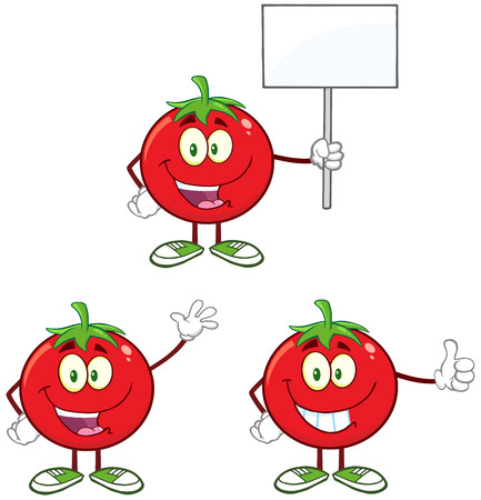Red Tomato Cartoon Mascot Character Different Interactive Poses 4. Collection Set Isolated On White