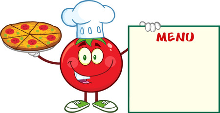 Tomato Chef Cartoon Mascot Character Holding A Pizza And Menu Board. Illustration Isolated On White