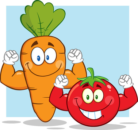 Carrot And Tomato Cartoon Mascot Characters Showing Muscle Arms. Illustration With Background 向量圖像