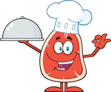 kobe: Happy Chef Steak Cartoon Mascot Character Holding Up A Cloche Platter. Illustration Isolated On White Illustration
