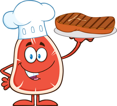 Chef Steak Cartoon Mascot Character Holding Up A Platter With Grilled Steak. Illustration Isolated On White Vectores