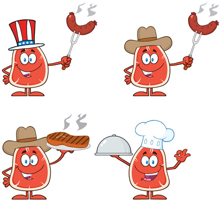 kobe: Steak Cartoon Character 2.  Collection Set Isolated On White Illustration