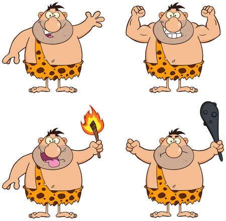 human evolution: Funny Caveman Cartoon Character 1.  Collection Set Illustration