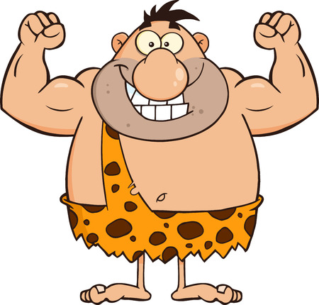 Smiling Caveman Cartoon Character Flexing. Illustration Isolated On White 일러스트
