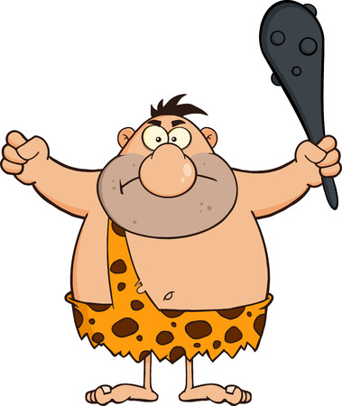 cave dweller: Angry Caveman Cartoon Character Holding A Club.  Illustration Isolated On White