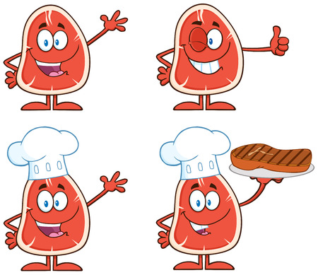 nutritive: Steak Cartoon Character 1.  Collection Set Isolated On White