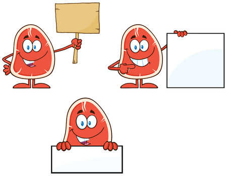 nutritive: Steak Cartoon Character 4. Collection Set Isolated On White Illustration
